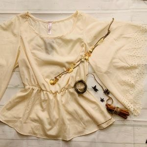 Love Notes Cream Bell Sleeve Peplum Blouse NWT (M)